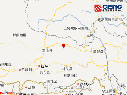 西藏那曲地区索县发生4.5级地震 震源深度5千米