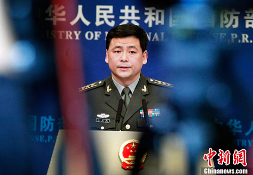 2月23日,中国国防部新闻发言人任国强回答记者提问。记者 宋吉河 摄