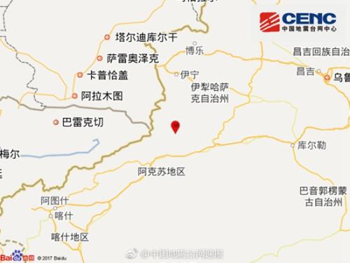 新疆阿克苏地区拜城县发生3.0级地震 震源深度6千米