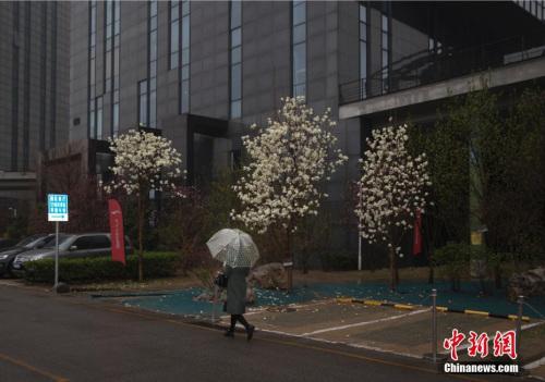 3月24日,北京民众在雨夹雪天气中出行。记者 刘关关 摄