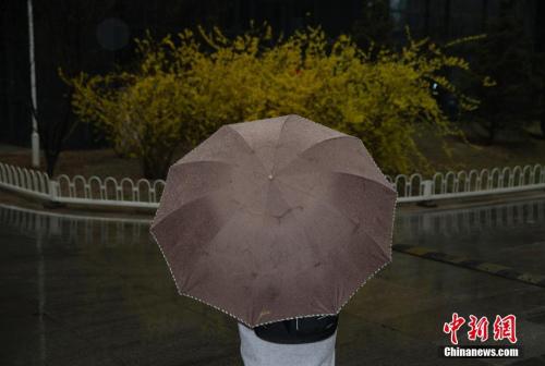 雨夹雪和大降温减缓了北京入春的步伐。 记者 刘关关 摄