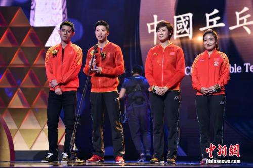 中国乒乓球队获得影响世界的华人大奖。 记者 金硕 摄