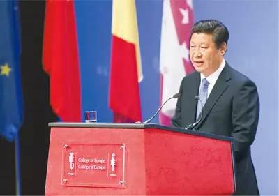 图为:2014年4月1日,国家主席习近平在比利时布鲁日欧洲学院发表重要演讲。