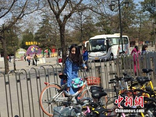 共享单车无序停放,某位共享单车用户想用车,只能先费劲把共享单车抬出来。中新网 吴涛 摄