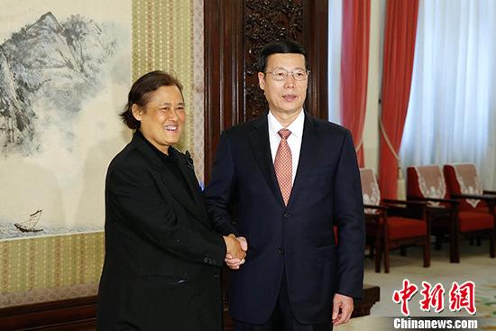 4月7日,中国国务院副总理张高丽在北京会见泰国公主诗琳通。 中新社记者 盛佳鹏 摄