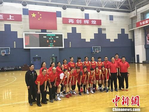 中国女篮合影。汤琪 摄