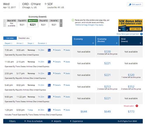图说:记者在美联航官网搜索奥黑尔国际机场飞往肯塔基州路易斯维尔的航班。