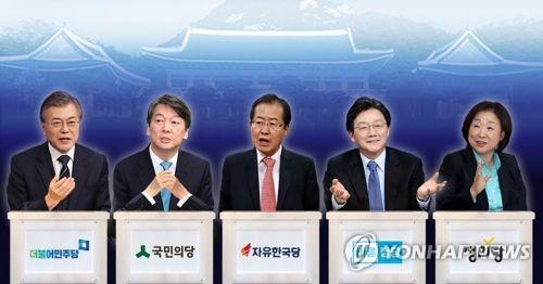 资料图:左起依次是文在寅、安哲秀、洪准杓、刘承旼、沈相奵。(图片来源:韩联社)