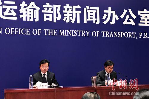 交通运输部第四次例行新闻发布会现场。 种卿 摄