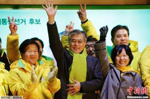 资料图:此前,韩国大田,文在寅参加竞选集会。