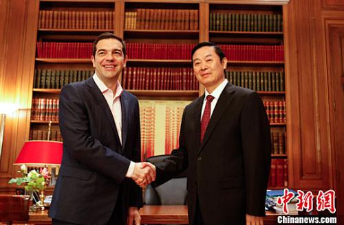 希腊总理齐普拉斯会见刘奇葆