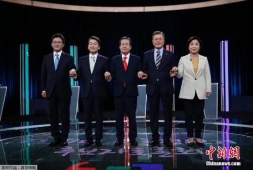 当地时间2017年4月23日,韩国首尔, 韩国大选电视辩论举行。