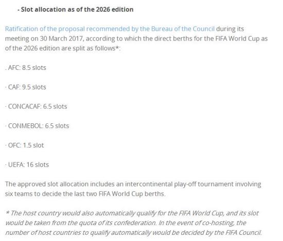 2026世界杯分配方案敲定:亚洲8.5席 非洲最大赢家