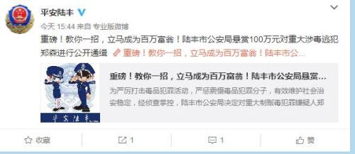 陆丰市公安局官方微博截图。
