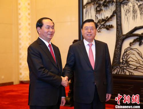 张德江会见越南国家主席陈大光
