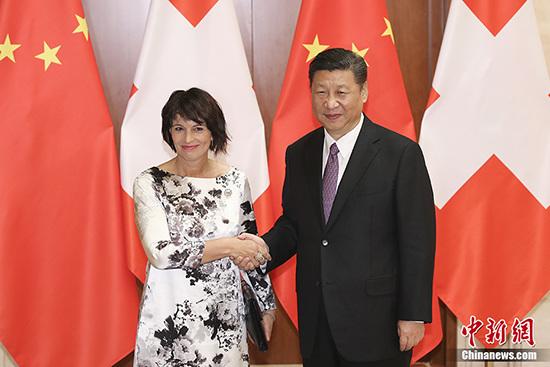 5月13日中国国家主席习近平在北京钓鱼台国宾馆会见瑞士联邦主席洛伊特哈德。 <a target='_blank' href='http://www.chinanews.com/'>中新社</a>记者 盛佳鹏 摄