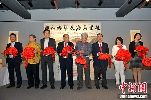 """5月13日,中马""""郑和睦邻友好万里航""""书画联展在吉隆坡举行。 记者 赵胜玉 摄"""