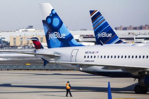 资料图:美国捷蓝航空客机。(图片来源:路透社)