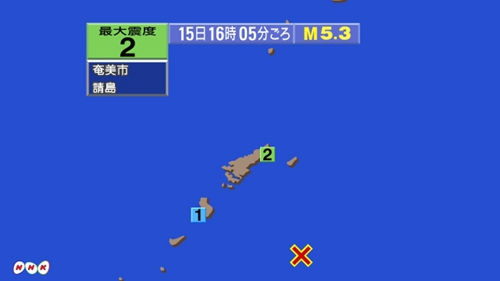 日本奄美大岛近海发生5.3级地震 多地有震感