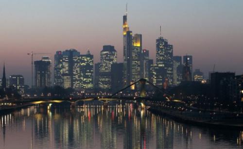 资料图:德国法兰克福的银行业中心。(图片来源:法新社)