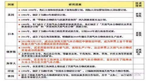 全球主要国家在可燃冰方面的研究进展。截图自中国地质调查局官网。