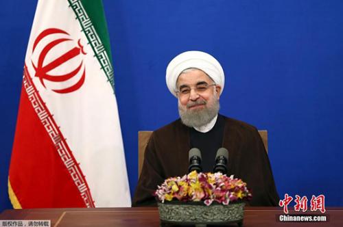5月20日,在伊朗首都德黑兰,鲁哈尼发表胜选讲话。