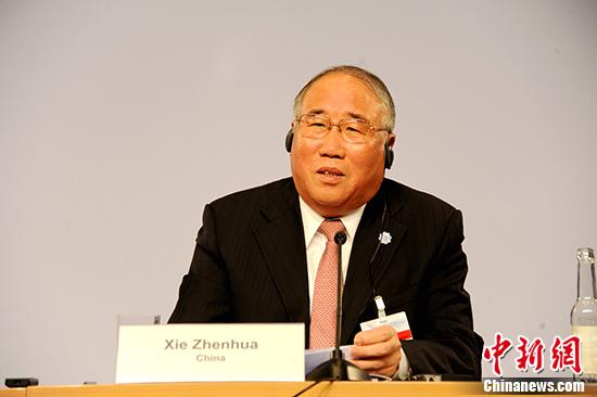 当地时间5月22日,中国气候变化事务特别代表解振华在德国柏林举行的第八届彼得斯堡气候对话会议上讲话。 中新社记者 彭大伟 摄