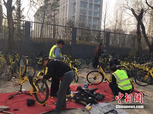 """共享单车带""""火""""修车师傅,图为在北京某个共享单车维修点,修车师傅正在工作。<a target='_blank' href='http://www.chinanews.com/' >中新网</a> 吴涛 摄"""