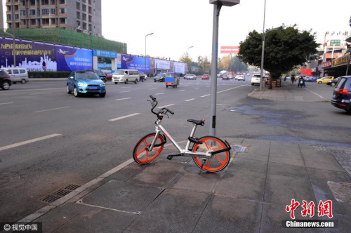 资料图:共享单车在街头随处可见。图片来源:视觉中国