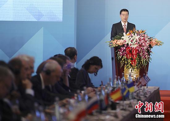 5月23日,第四十届南极条约协商会议在北京开幕。中共中央政治局常委、国务院副总理张高丽出席开幕式并致辞。 中新社记者 盛佳鹏 摄