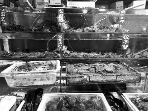 大洋路海鲜市场,到处售卖绑着粉色吸水皮筋的螃蟹。