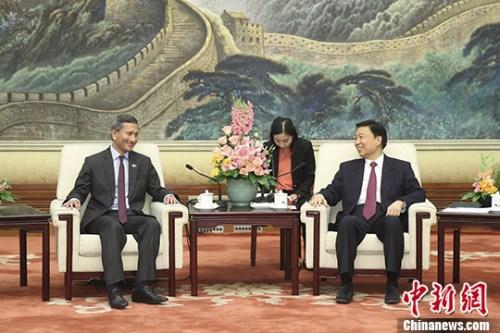 6月12日,中国国家副主席李源潮在北京人民大会堂会见新加坡外长维文。 中新社记者 盛佳鹏 摄