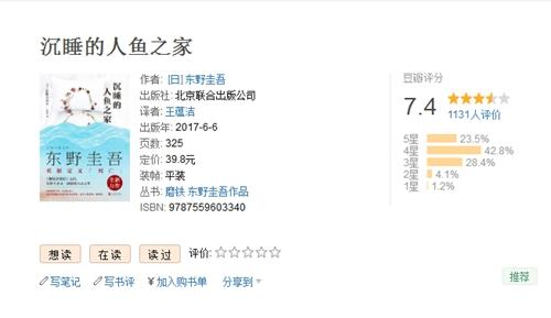 《沉睡的人鱼之家》在豆瓣上的评分。图片来源:豆瓣评分截图