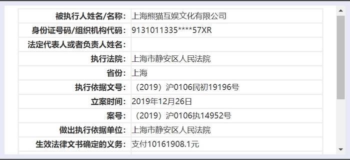 王思聪旗下熊猫互娱再增失信被执行人信息:执行标的超1000万