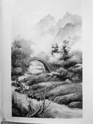 刀画融国画山水皱,擦,点,染等技法于一炉,并结合西方油画的突出特点及图片