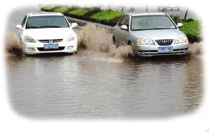 见到积水处莫左闪右避 雨天开车有技巧