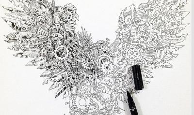插画师用钢笔手绘猫头鹰 由微小齿轮机械拼成(图)