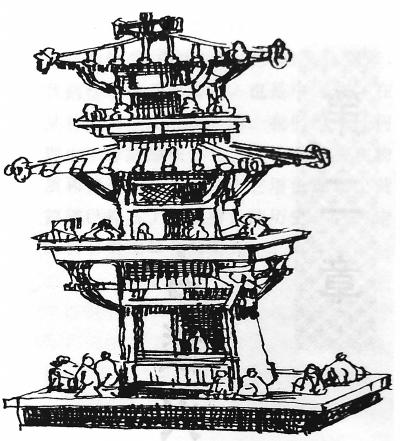 三国时期东吴了望楼模型 记者周超 翻拍