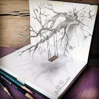 3d铅笔画有穿透力:树木像从纸张里长出来(图)