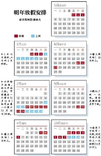 明年放假安排公布 节假日遇周末顺延补休(图)