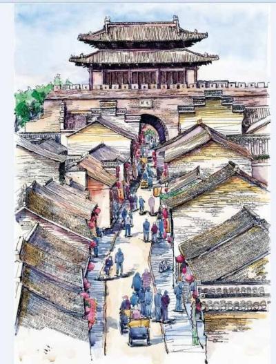 """钢笔淡彩手绘画""""水彩扬州""""走红 3个月画12个景点"""
