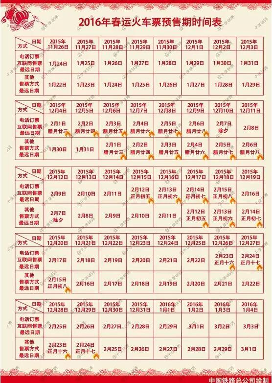 2016年春运火车票预售期时刻表