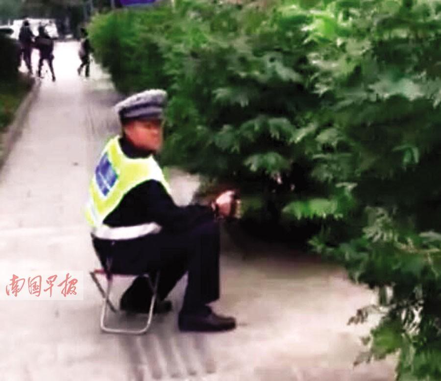 协警坐在树丛后拍摄违法车辆 网友质疑