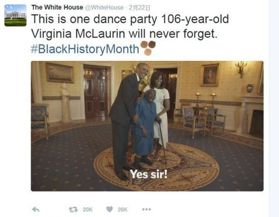 美106岁老人见证18位总统轮替 获邀会见奥巴马