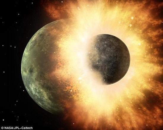 材料图像:科学家说,45亿年前跟忒伊亚行星的一场相撞,把水资本带到了地球。
