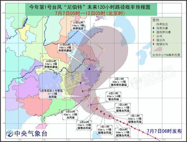 台风橙色预警:超强台风尼伯特8日登陆台湾