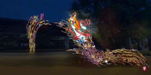 """本年的""""沿海花圃庆中秋""""灯会,此中一组巨型灯展将报告嫦娥奔月的故事。(新加坡《结合早报》材料图)"""