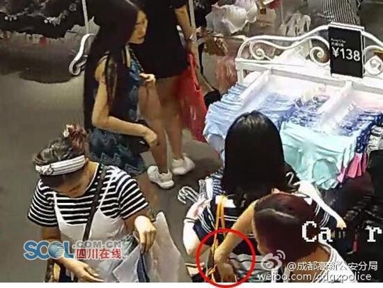 作案实拍:成都民警蹲守十几天抓获2名女贼(图)