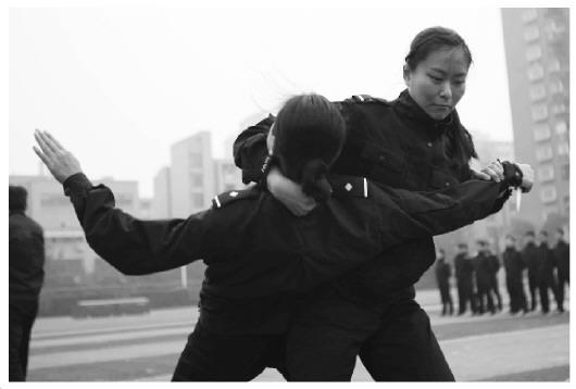 图为广东法院司法警察表演咏春拳.图片