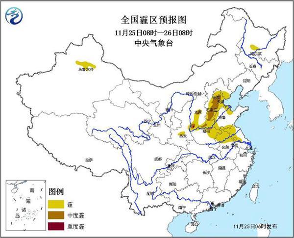 华北黄淮雾霾今夜最重 南方降雨增多
